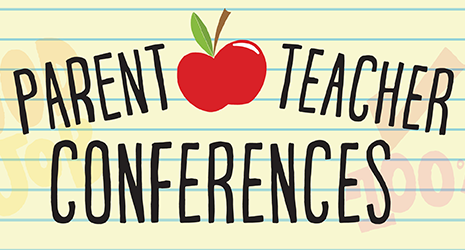 "Lined paper that had "" Parent Teacher Conferences"" Written in black, along with a red apple."