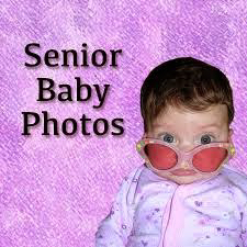 "Purple background with a baby wearing sunglasses. ""Senior baby photos"""