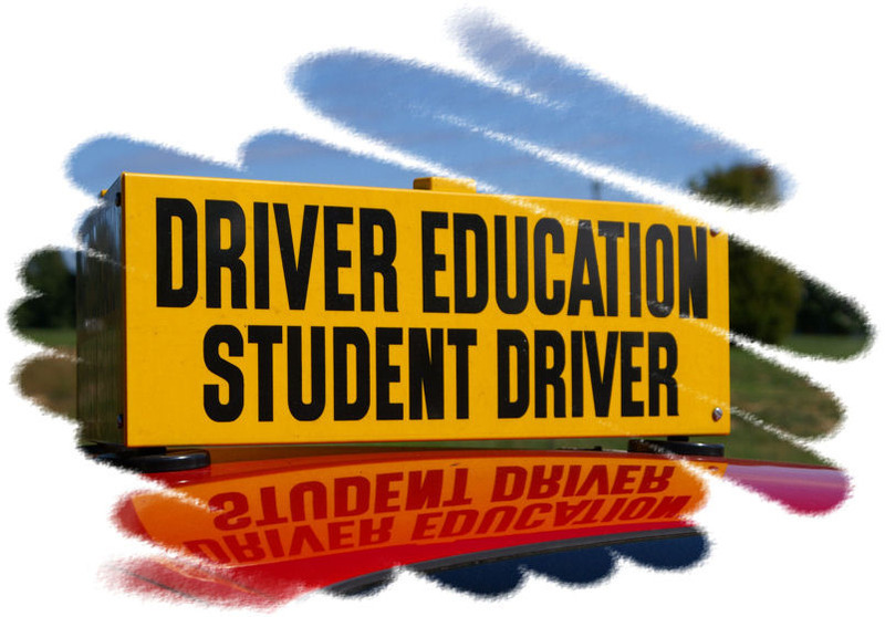 "A big yellow sign with black letters that say "" Driver Education"" and under it ""Student Driver"". There is a reflection of the sign under it that makes it look like the sign is on top of a red car."