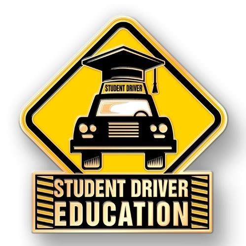 "A yellow yield sign with a black car and a black graduation cap on top of the car. Under the yield sign it states ""Student Driver Education"""