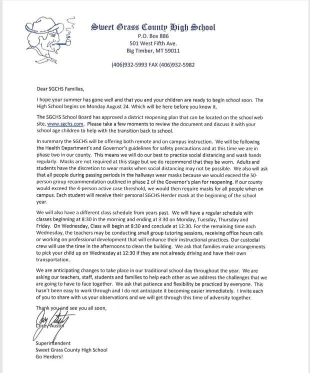This is a letter informing parents of the SGCHS reopening plan.