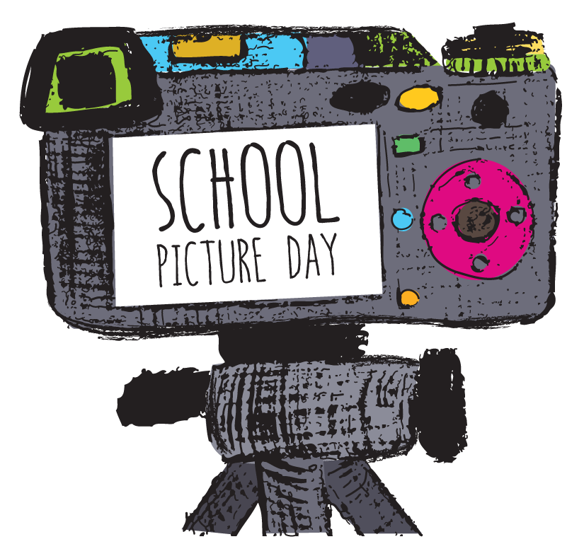 "A hand drawn gray camera. There are colorful buttons and it has the words ""School Picture Day"" on the screen of the camera"