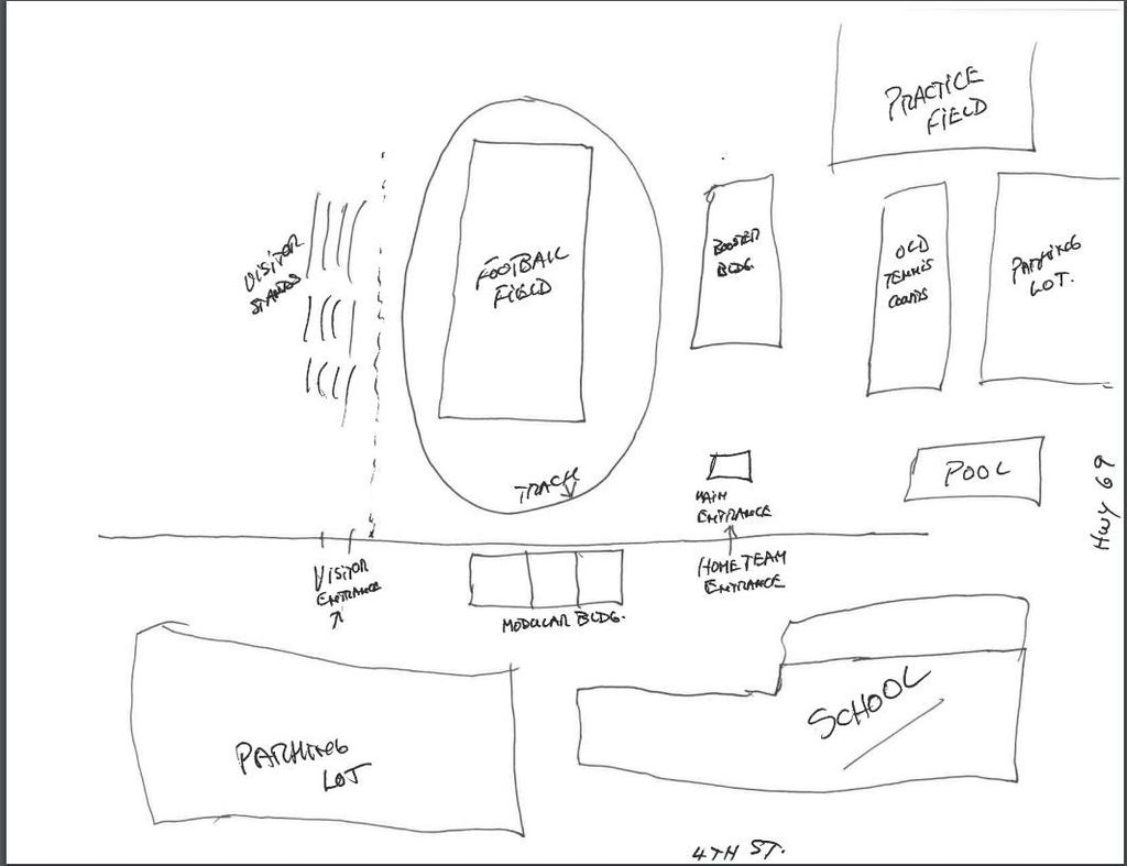 A sketch of Boulders Football Field to show visiting fans were to go.